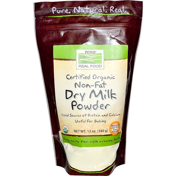 Real Food, Certified Organic Non-Fat Dry Milk Powder, 12 oz (340 g)