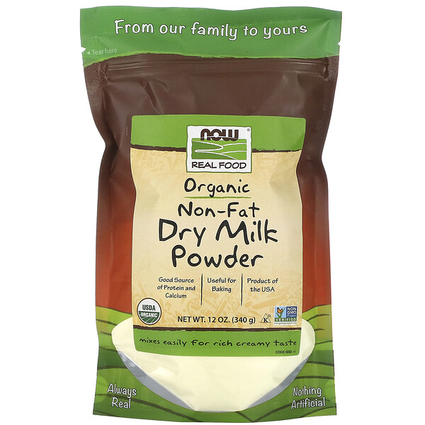 Real Food, Organic Non-Fat Dry Milk Powder, 12 oz (340 g)