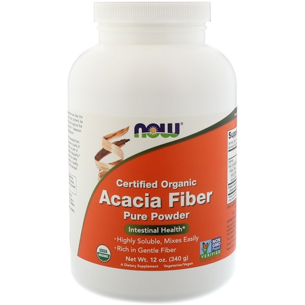 Now Foods, Certified Organic, Acacia Fiber, Powder, 12 oz (340 g)