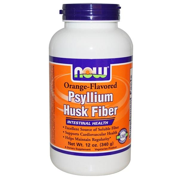 Now Foods, Psyllium Husk Fiber, Orange-Flavored, 12 oz (340 g) (Discontinued Item)