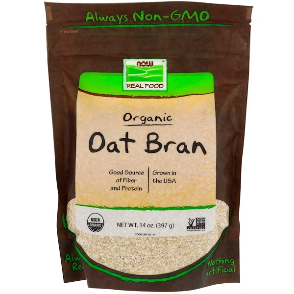 Now Foods, Real Food, Organic Oat Bran, 14 oz (397 g)