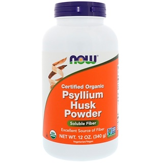 Now Foods, Certified Organic, Psyllium Husk Powder, 12 oz (340 g)