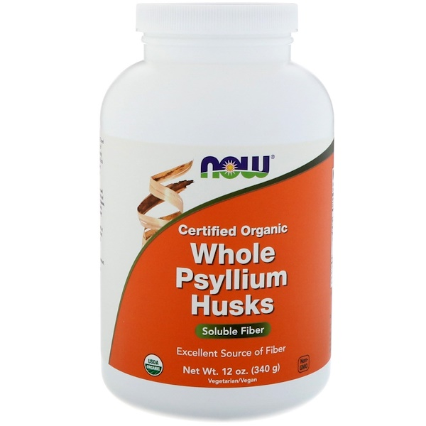 Certifed Organic Whole Psyllium Husks, 12 oz (340 g)
