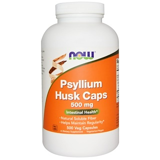 Now Foods, Psyllium Husk Caps, 500 mg, 500 Veggie Caps