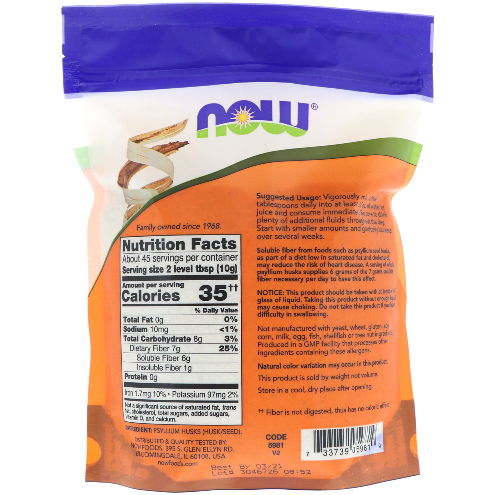 Now Foods, Whole Psyllium Husks, 16 oz (454 g) - iHerb com