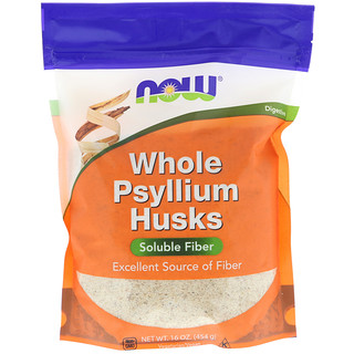 Now Foods, Cáscaras de psyllium enteras, 16 oz (454 g)