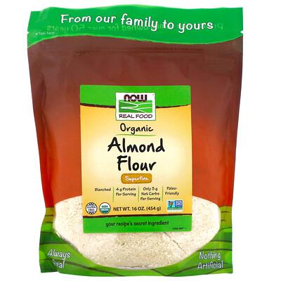 Купить Now Foods Real Food, органическая миндальная мука, очень мелкого помола, 454г (16унций)