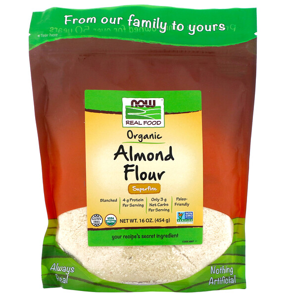 Now Foods, Real Food, Organic Almond Flour, Superfine, 16 oz (454 g)