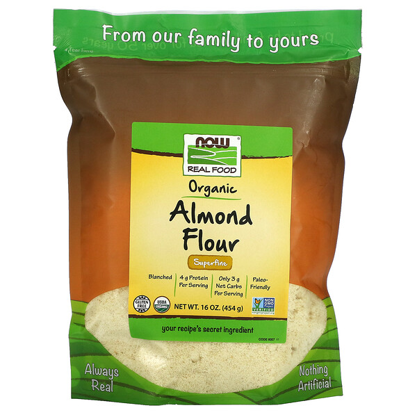 Real Food, Organic Almond Flour, Superfine, 16 oz (454 g)