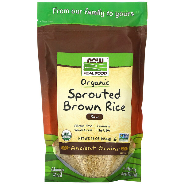 Real Food, Organic Sprouted Brown Rice, Raw, 16 oz (454 g)