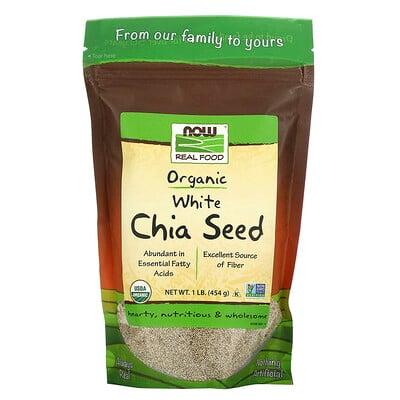 Купить Now Foods Real Food, органические белые семена чиа, 454 г (1 фунт)