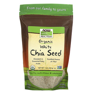 Now Foods, Real Food, органические белые семена чиа, 454 г (1 фунт)