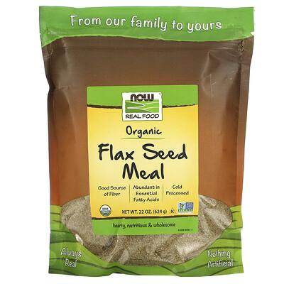 Купить Now Foods Real Food, Organic Flax Seed Meal, 1.4 lbs (624 g)