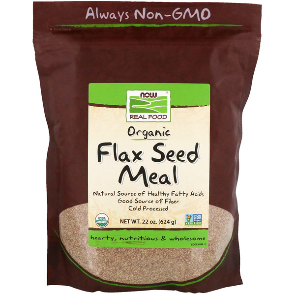 Now Foods, Real Food, Organic Flax Seed Meal, 1.4 lbs (624 g)