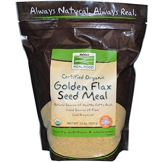 Now Foods, Real Food, Golden Flax Seed Meal, 1.4 lbs (624 g)