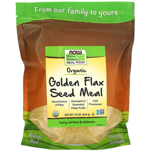 Real Food, Organic Golden Flax Seed Meal, 22 oz (624 g)