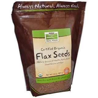 Now Foods, Real Food, Certified Organic Flax Seeds, 32 oz (907 g)