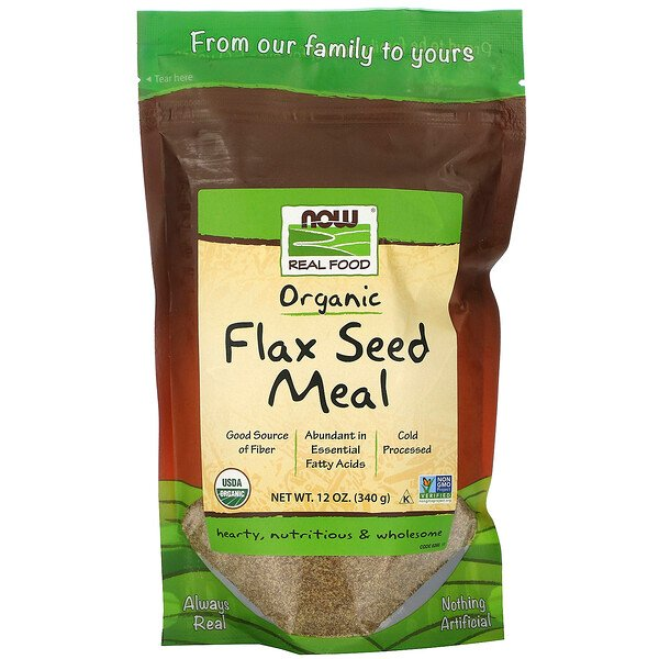 Now Foods, Real Food, Organic Flax Seed Meal, 12 oz (340 g)