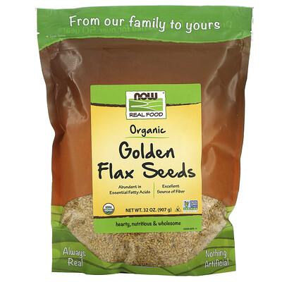 Купить Now Foods Real Food, Organic Golden Flax Seeds, 32 oz (907 g)