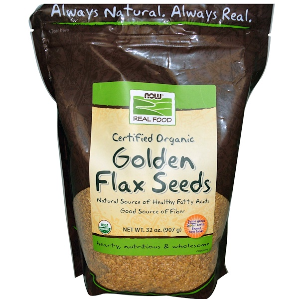 Now Foods, Real Food, Certified Organic, Golden Flax Seeds, 32 oz (907 g)