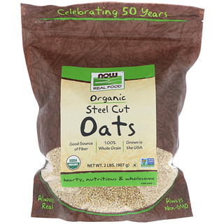 Now Foods, Real Food, Organic Steel Cut Oats, 2 lbs (907 g)