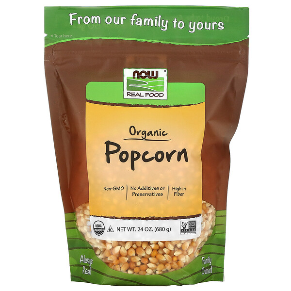 Real Food، ذرة فشار عضوية، 25 أونصة (680 جرام)