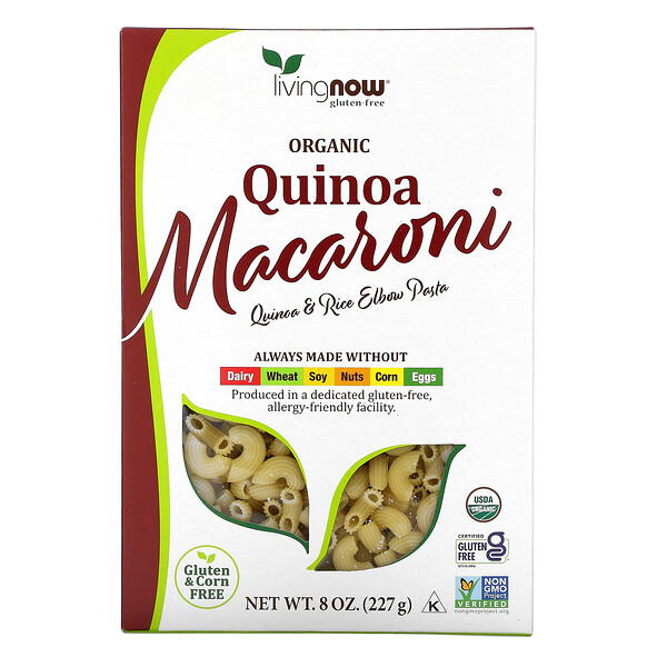 Now Foods, מקרוני קינואה אורגני, ללא גלוטן, 227 גרם (8 oz)