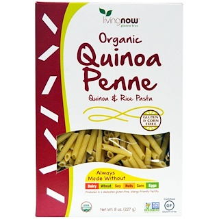 Now Foods, Penne de quinua orgánica, fideos de quinua y arroz, 8 onzas (227 g)