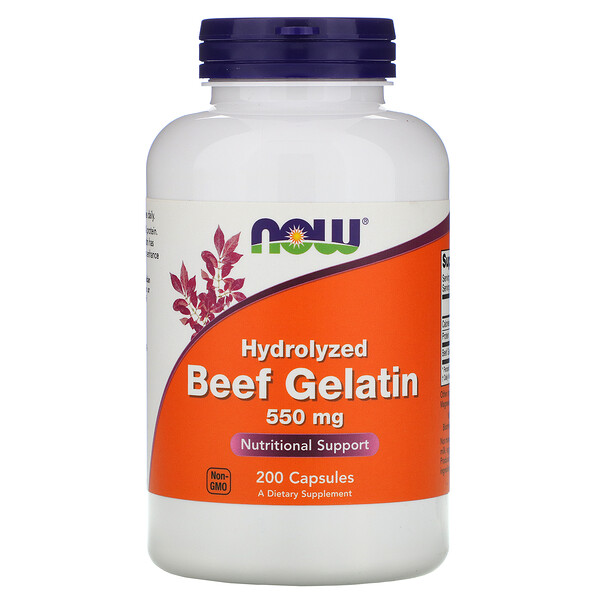 Now Foods, Hydrolyzed Beef Gelatin, 550 mg, 200 Capsules