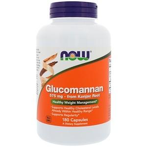 Now Foods, Глюкоманнан, 575 мг, 180 капсул инструкция, применение, состав, противопоказания