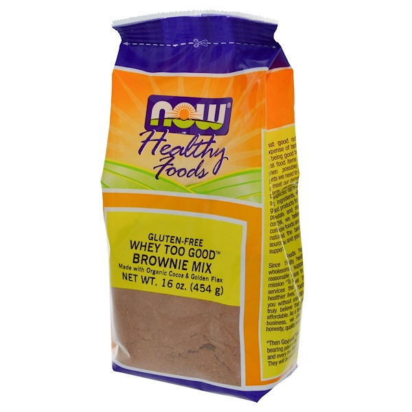 Now Foods, Whey Too Good, Brownie Mix, Gluten-Free, 16 oz (454 g) (Discontinued Item)