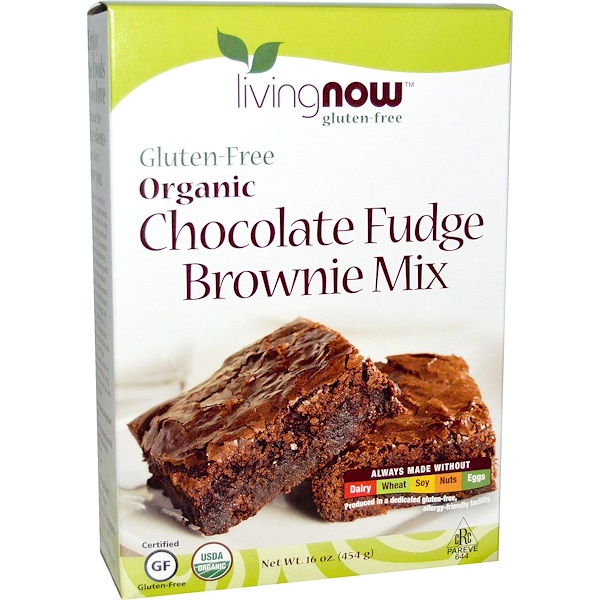 Now Foods, Real Food, Organic, Chocolate Fudge Brownie Mix, Gluten-Free, 16 oz (454 g) (Discontinued Item)