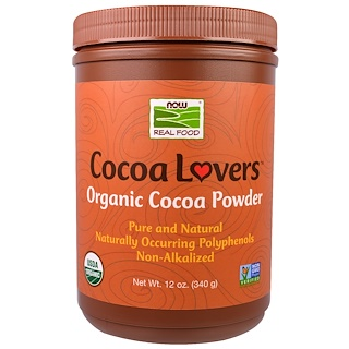 Now Foods, Real Food, Cocoa Lovers, Organic Cocoa Powder, 12 oz (340 g)