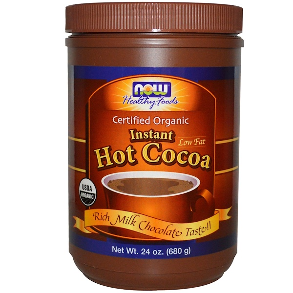 Now Foods, Organic, Instant Hot Cocoa, Low Fat, Rich Milk Chocolate, 24 oz (680 g) (Discontinued Item)