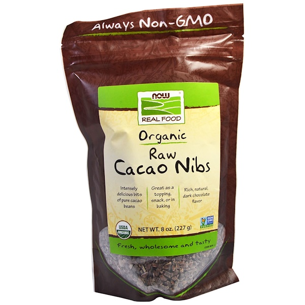 Now Foods, Real Food, Organic, Raw Cacao Nibs, 8 oz (227 g)