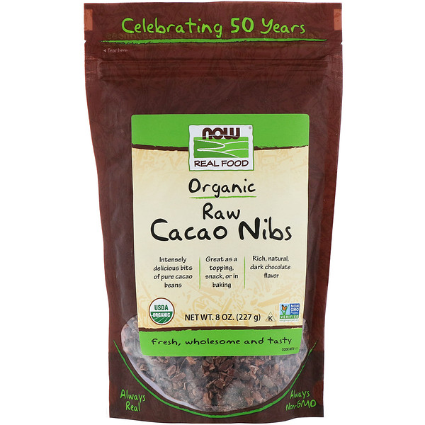 Now Foods, Organic, Raw Cacao Nibs, 8 oz (227 g)