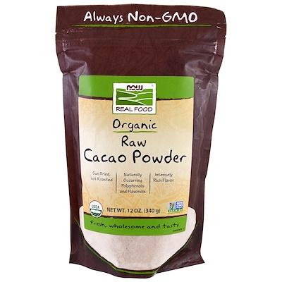 Купить Real Food, органический сырой какао-порошок, 340 г (12 унций)