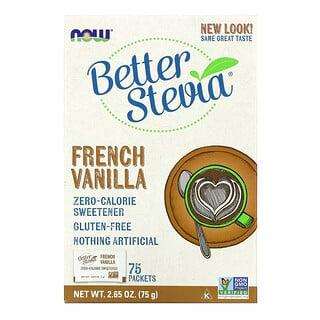 Now Foods, стевия BetterStevia, сахарозаменитель с нулевой калорийностью, французская ваниль, 75пакетиков по 1г в каждом