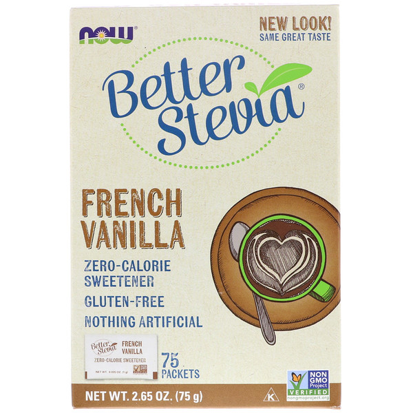 BetterStevia, Zero Calorie Sweetener, French Vanilla, 75 Packets, (1 g) Each