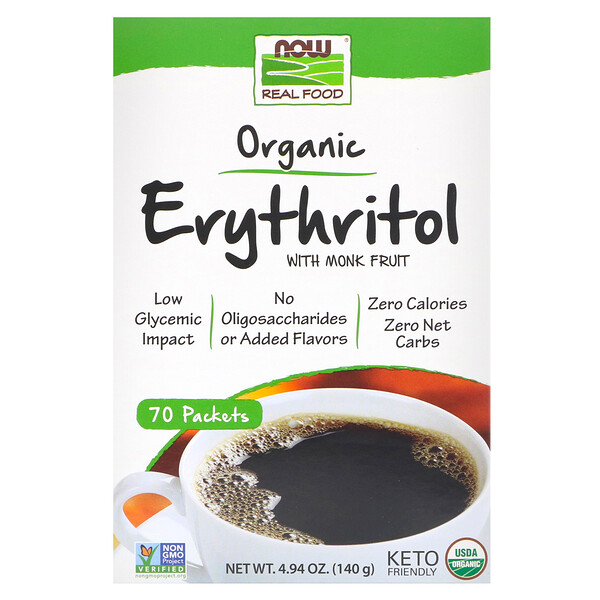 Real Food, Organic Erythritol with Monk Fruit, 70 Packets