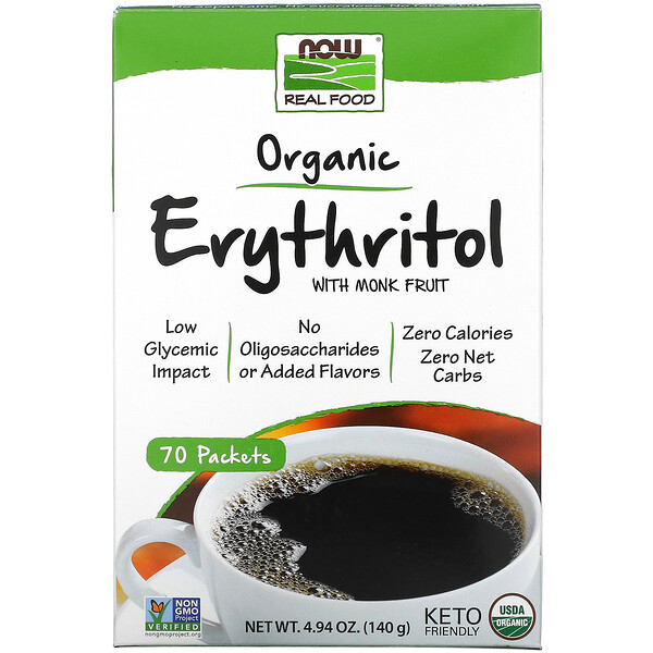 Real Food, Érythritol bio avec du monk fruit, 70 sachets