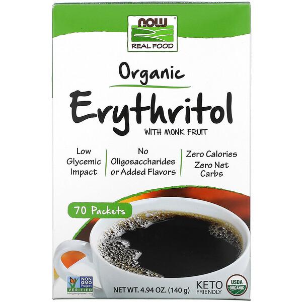 Real Food, eritritol orgánico con fruta del monje, 70 paquetes