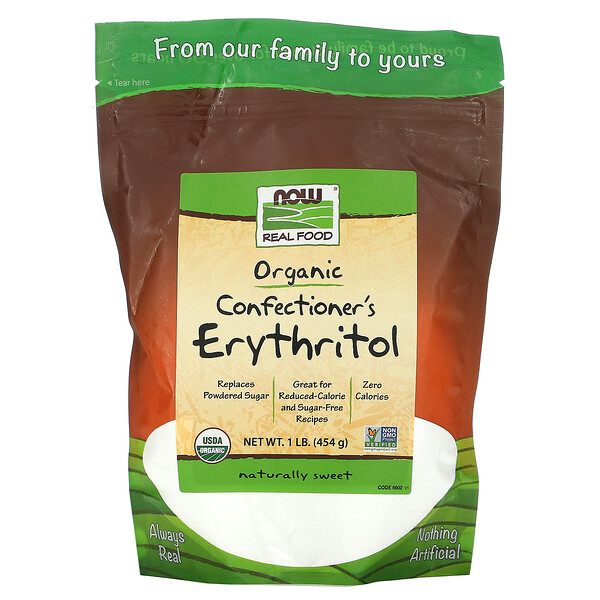 Now Foods, Real Food, Organic Confectioner's Erythritol, 1 lb (454 g)