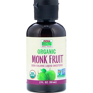 Now Foods, Real Food, Organic Monk Fruit, Liquid Sweetener, 2 fl oz (59 ml)