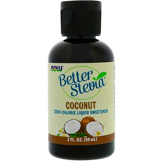 Now Foods, BetterStevia Liquid, Zero-Calorie Liquid Sweetener, Coconut, 2 fl oz (59 ml)