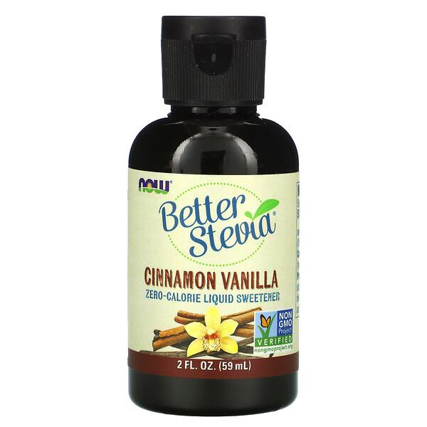 Now Foods, Better Stevia, Zero-Calorie Liquid Sweetener, Cinnamon Vanilla, 2 fl oz (60 ml)
