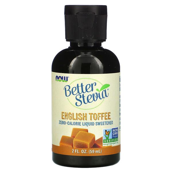 Now Foods, BetterStevia, Endulzante líquido con cero calorías, Caramelo inglés, 59ml (2oz.líq.)