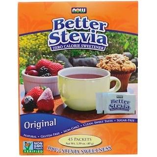 Now Foods, 베터 스테비아, 제로 칼로리 감미료, 오리지널, 45 팩, 1.59 oz (45 g)