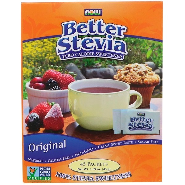 Now Foods, Better Stevia, Zero Calorie Sweetener, Original, 45 Packets, 1 g Each (Discontinued Item)