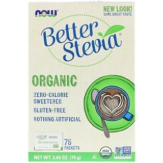 Now Foods, Organic Better Stevia, Zero-Calorie Sweetener, 75 Packets, 2.65 oz (75 g)